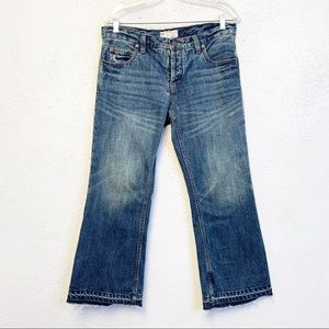 Free People Button Fly Raw Hem Jeans